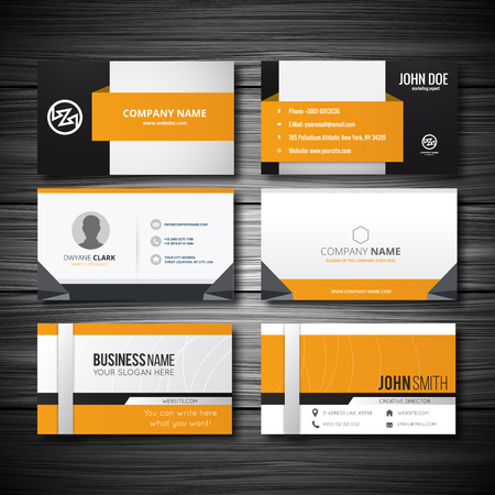 buisness: Yellow buisness card with light wooden texture. Vector illustration, EPS 10 Illustration