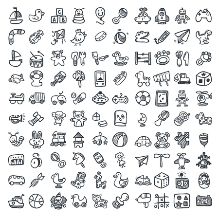 child care: Doodle toys icons set. Vector illustration, EPS 10