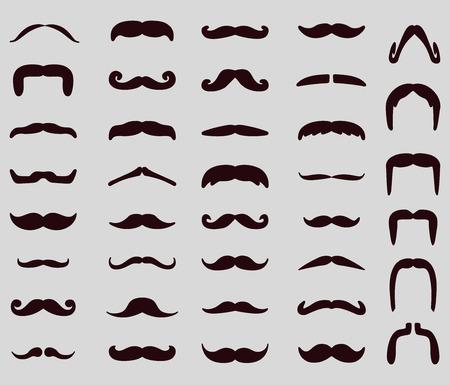 hombres negros: Conjunto del icono del bigote. Ilustraci�n del vector, EPS 10
