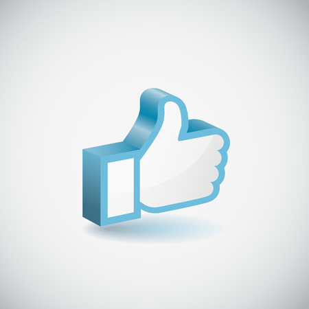 facebook: Blue Like hand icon. Vector Illustration EPS 10