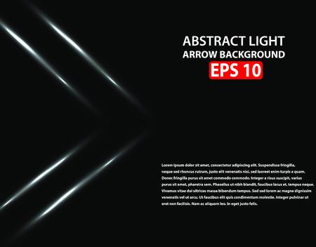 Weiße helle glühende Pfeile auf schwarzem Hintergrund. Vektorillustration, ENV 10