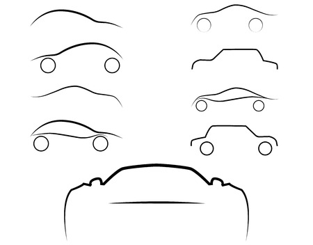flown: Cars logo set. Cars isolated. Transport logo. Auto sign.Vector Illustration, EPS 10