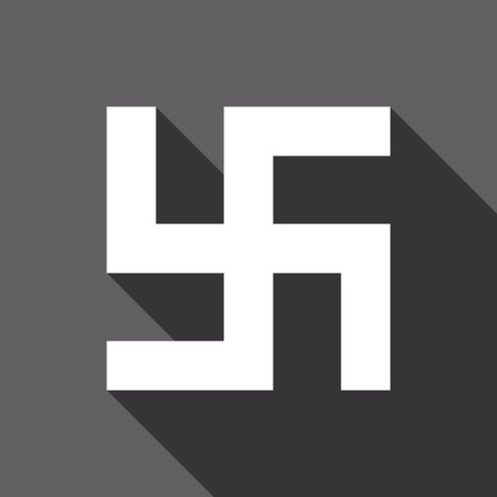 swastik: Flat vector Swastika icon with long shadow Illustration