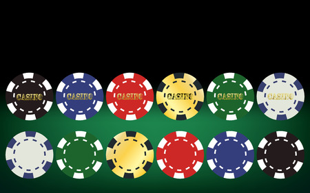 macau: Poker chips set. Vector illustration Illustration