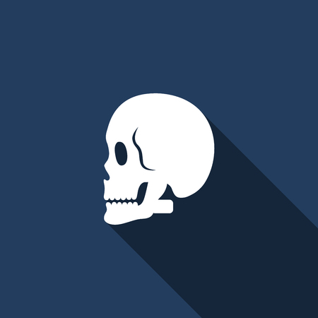 vector skull danger sign: Illustration of a long shadow icon with a skull