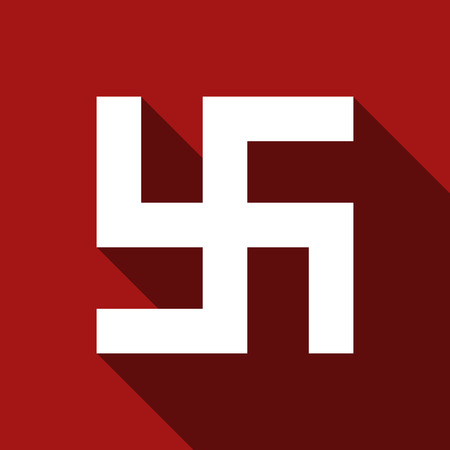 Flat vector Swastika icon with long shadow. Illustration