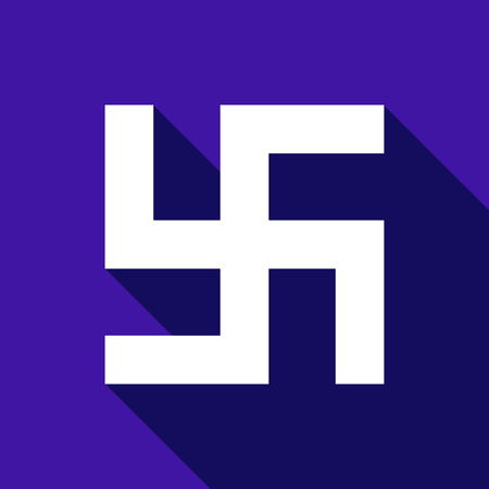 swastika: Flat vector Swastika icon with long shadow. Illustration