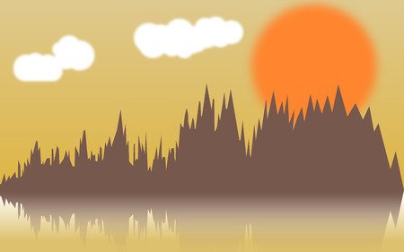thickets: Vector horizontal illustration of forest thickets on river at sunset. Forest reflect design. Vector illustration EPS 10 Illustration