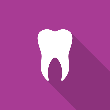 Tooth icon with long shadow. Vector illustration