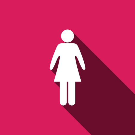 woman shadow: woman icon, isolated symbol with long shadow