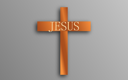 calvary: Vector Wooden Cross. Calvary. Christian Easter symbol