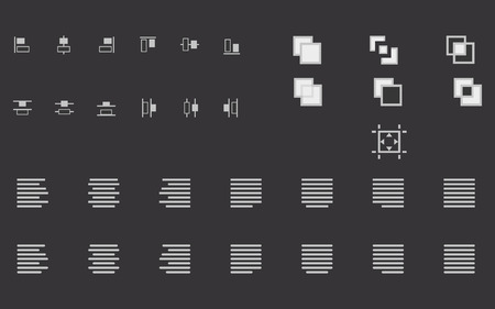 content writing: Set of align shapes, text and objects vector icons for web site and mobile app application. Alignment sign illustration Illustration
