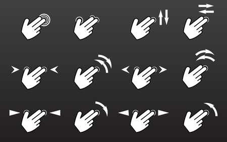 rotate: Touch gestures icons set with hands tap rotate press swipe isolated vector illustration