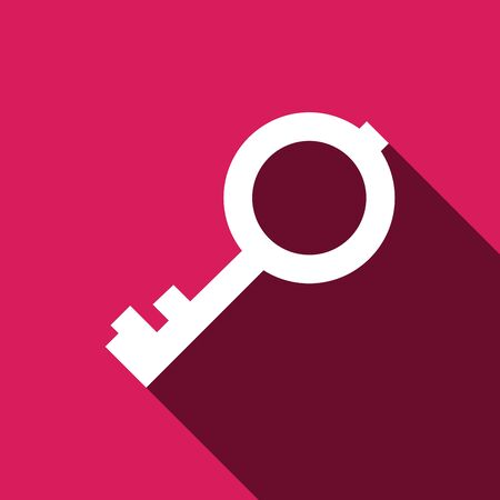 10 key: Key vector icon with long shadow. Vector illustration