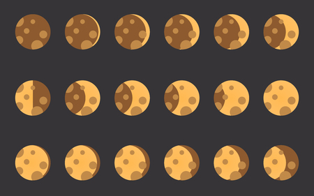 lunar phases: The phases of the moon. The whole cycle from new moon to full. Vector illustration. Illustration