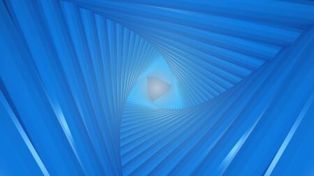 Futuristic tunnel consisting of twisted triangles. At the end of the flash. 3d rendering
