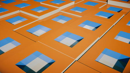 Field of bright orange cubes. 3d rendering