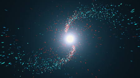 Opening intro Flash light, Lens flare, Red and blue particles. 3d render