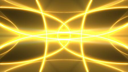 vj: Golden lights kaleida background. Digital 3d rendering