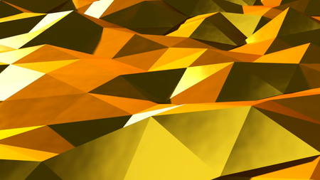 crystalline gold: Abstract gold triangular crystalline background animation. 3d rendering
