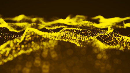 Luxurious gold sparkling particles wave background. 3d rendering
