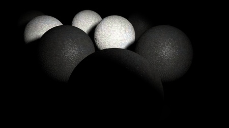 3D rendering of reflective balls that form a triangle in the shade. Stock Photo
