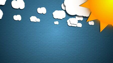 Einfache Karikaturwolken und Sonne. Spaß Hintergrund. Standard-Bild - 84737712