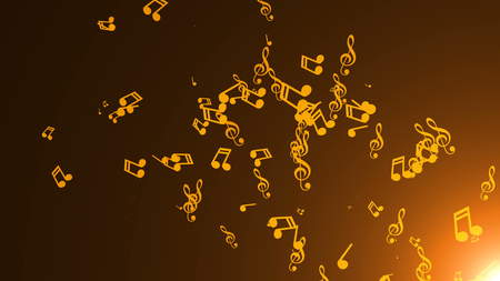 Musical notes float. Abstract background with flares Stock Photo