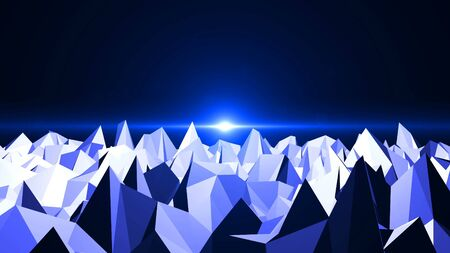 generative: Low Poly Mountain Landscape. Digital background with flares.