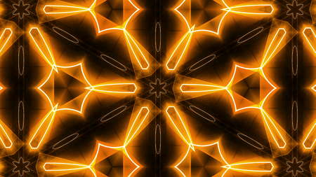 Fractal orange kaleidoscopic background. 3D rendered backdrop