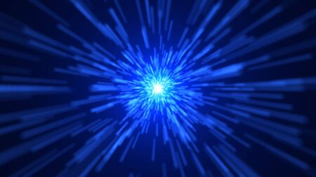 Space traveling. Particle zoom background. 3D rendered Stock Photo