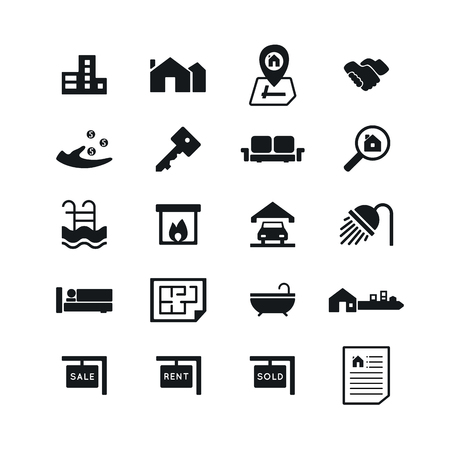 Real Estate icons on White Background. Vector illustration.