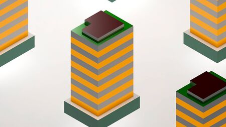 Abstract background with isometric city. 3d rendering Banco de Imagens