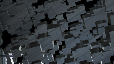 Abstract background with chaotic cubes. 3d rendering. Imagens