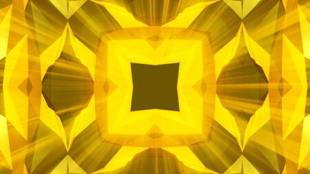 irradiation: Kaleidoscope gold jewelry pattern background. 3d rendering. Stock Photo