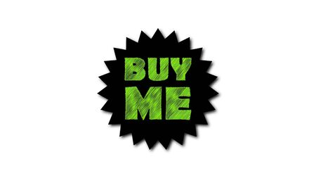 Text Buy me on white background. Scribble effect. 3d rendering