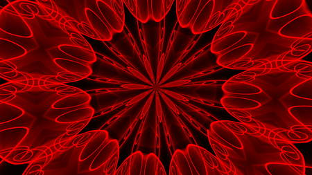 Abstract red background. Digital kaleidoscope. 3d rendering
