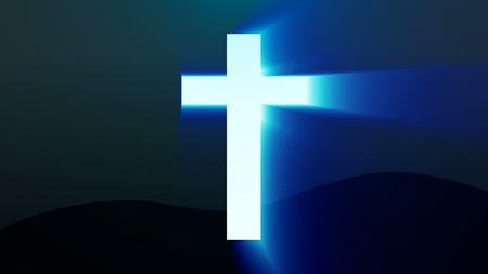 Croce chiara di Cristo, raggi di raggio sfondo. Rendering 3d Archivio Fotografico - 88474659