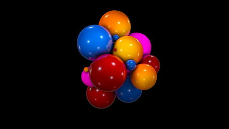 Abstract background with chaotic colorful spheres. 3d rendering