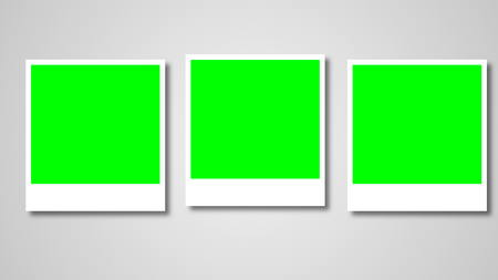 Polaroids frames with green screen for your photo. 3d rendering Stock Photo