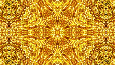 vj: Abstract background with gold kaleidoscope. 3d rendering