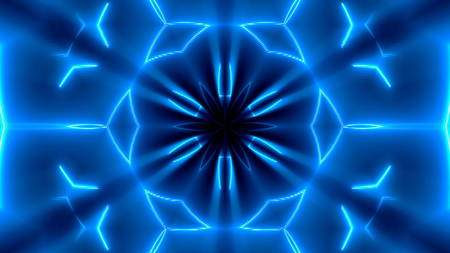 Fractal neon kaleidoscopic background. Abstract digital backdrop. 3d rendering Archivio Fotografico
