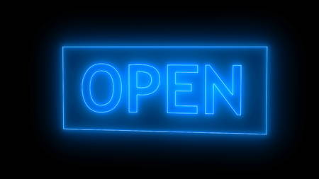 Open sign neon isolated on black background. Digital illustration. 3d rendering