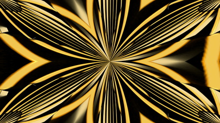 Abstract background with gold kaleidoscope. 3d rendering