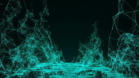 Wireframe mountain. Digital illustration landscape. 3d rendering