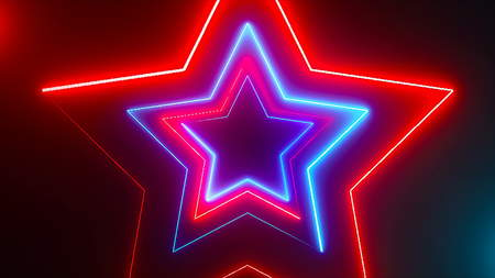 Abstract digital background with neon stars. Digital 3d rendering