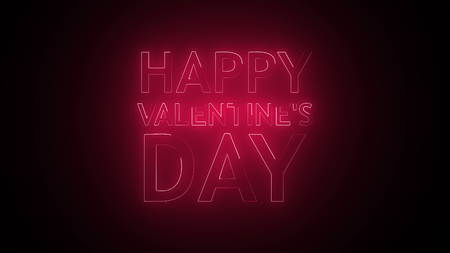 Happy Valentines Day Text in neon. 3d rendering