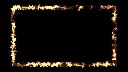 Abstract background with fire frame isolated on black backdrop. 3d rendering
