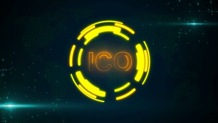 Abstract glowing digital currency button ICO with connecting dots and flares. 3D rendering Reklamní fotografie