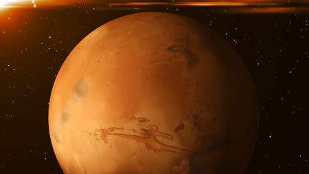 Planet Mars in space. Abstract 3d rendering background